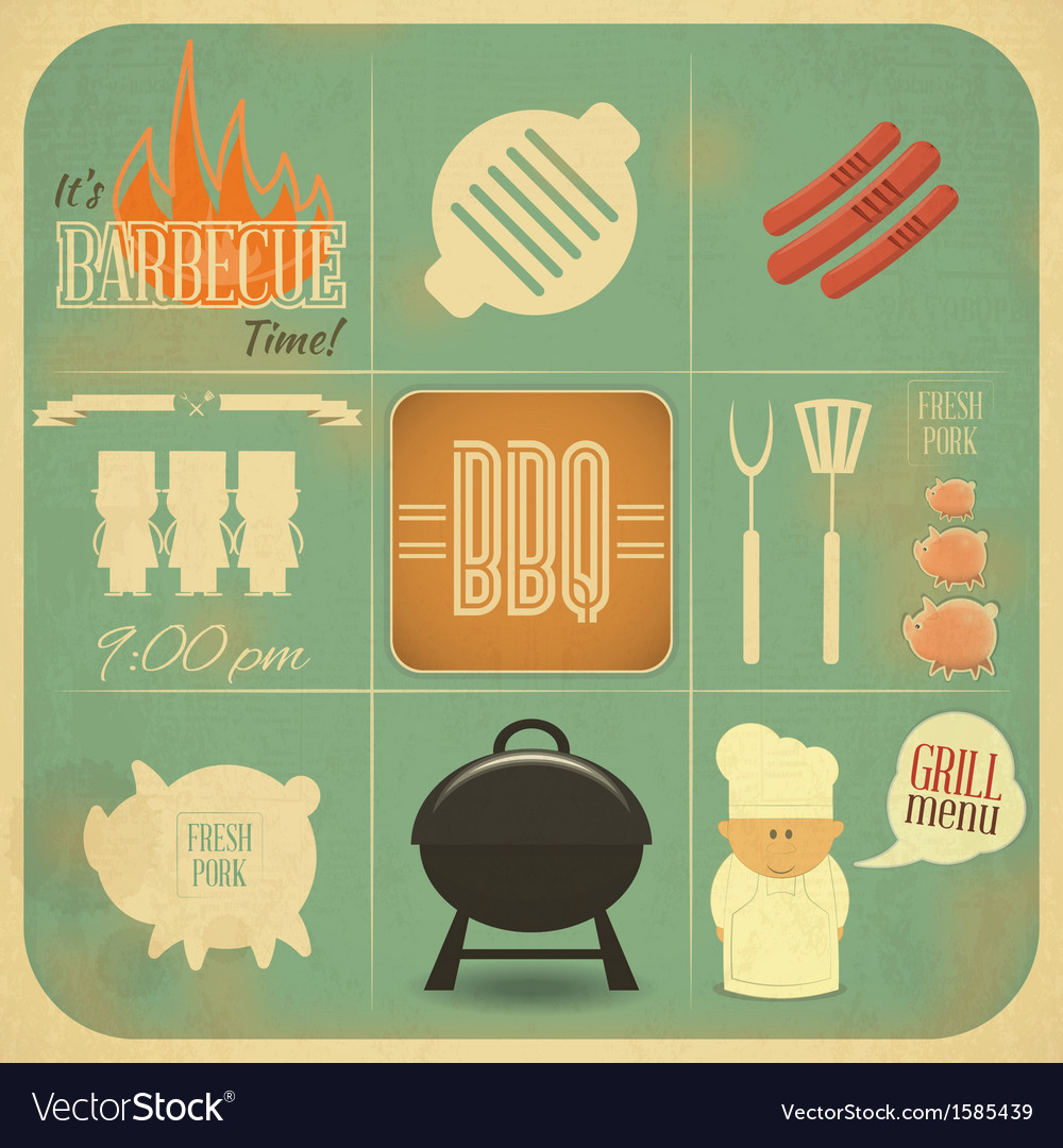 Grill and barbecue menu vector