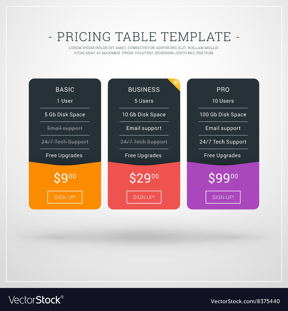 Design template for pricing table for websites and vector