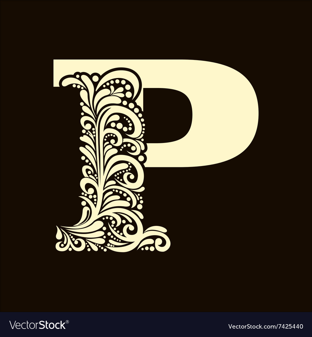 Elegant capital letter p in the style baroque vector