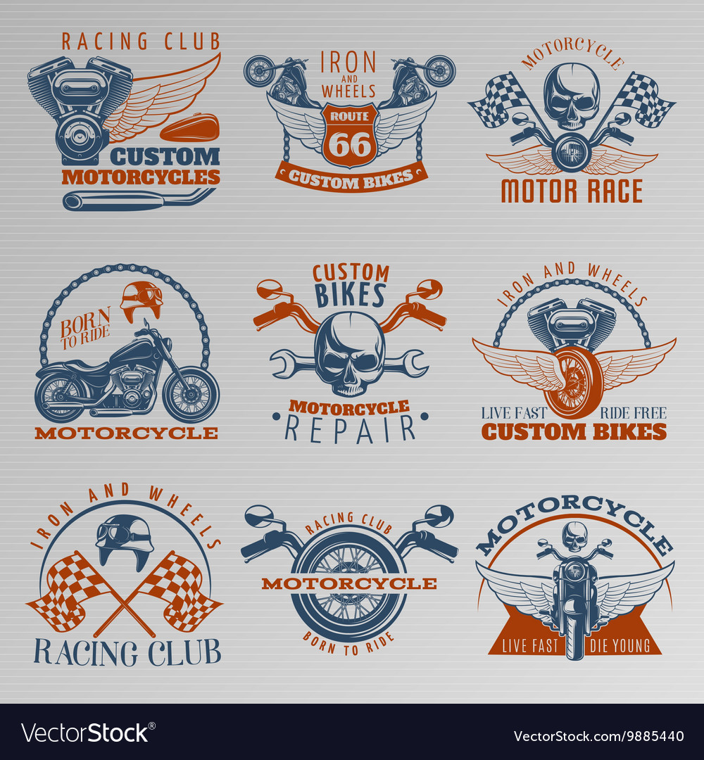 Motorcycle in color emblem set vector