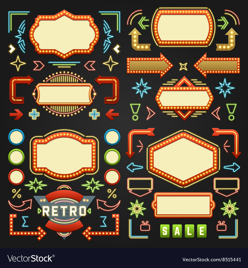 Retro american 1950s sign design elements set vector
