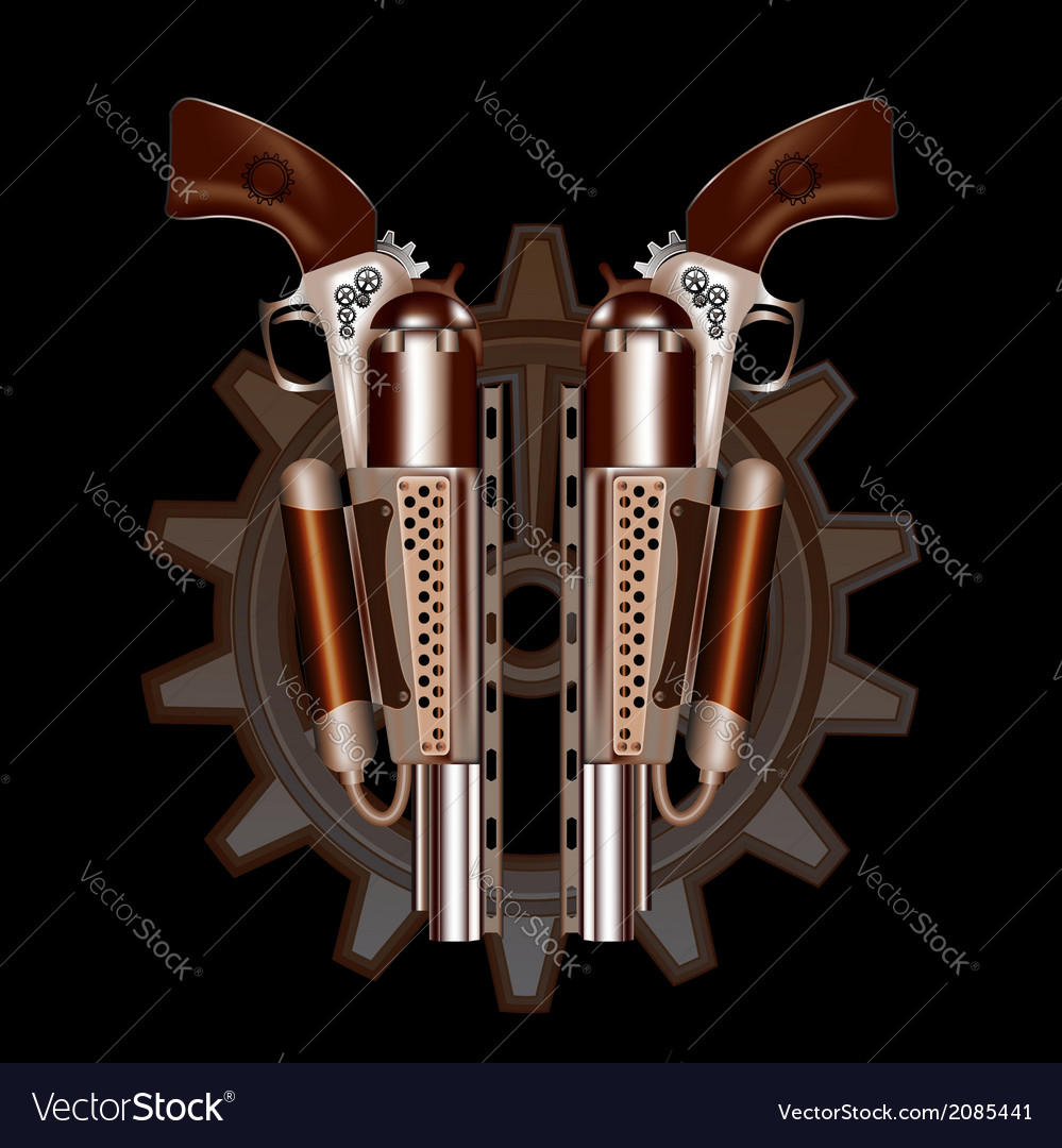 Two steampunk revolvers vector