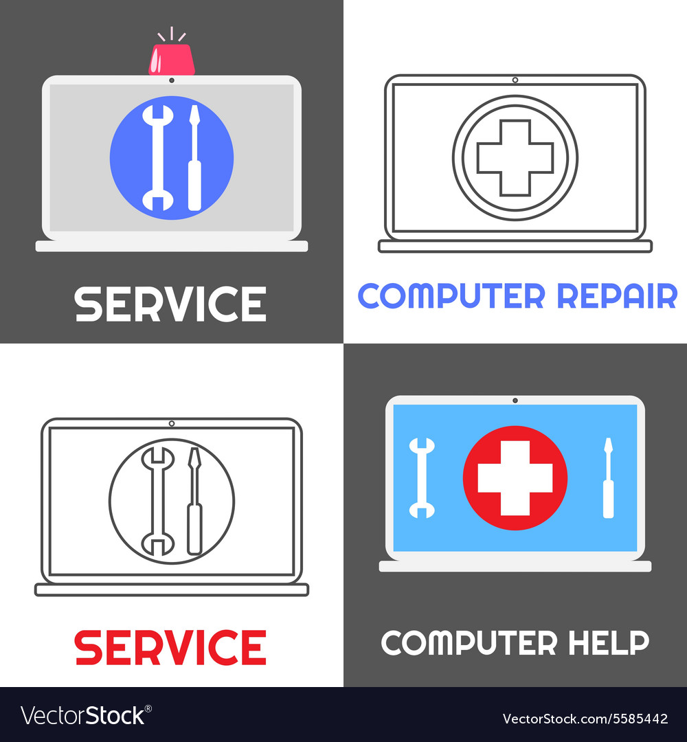 Computer repair service laptop help icon set vector