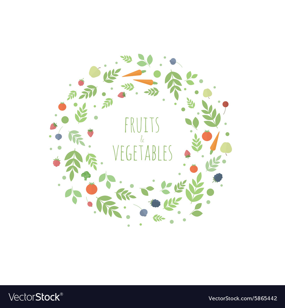 Frame with leaves fruits and vegetables vector