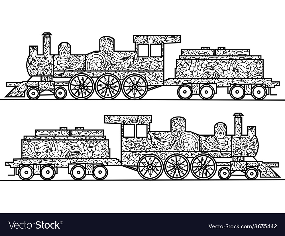 Steam locomotive coloring book for adults vector