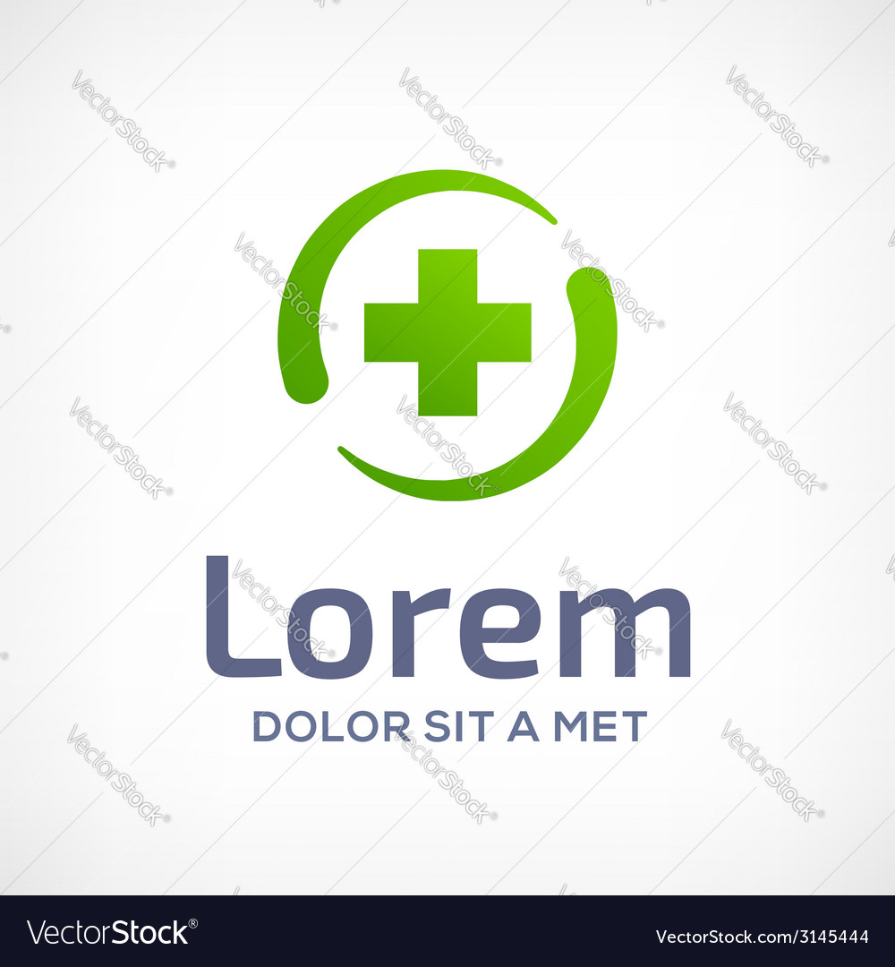 Abstract design template logo icon with cross and vector