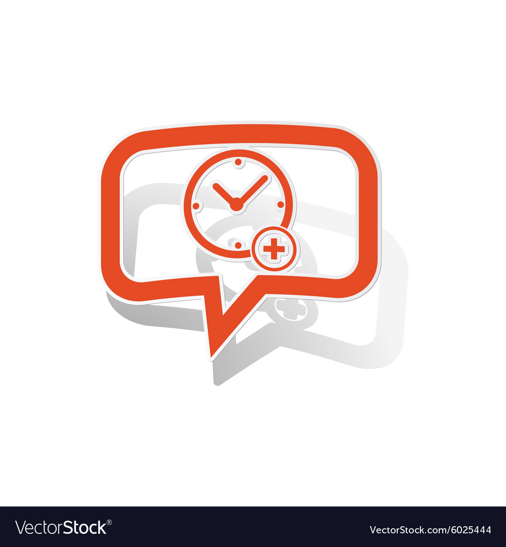Add time message sticker orange vector