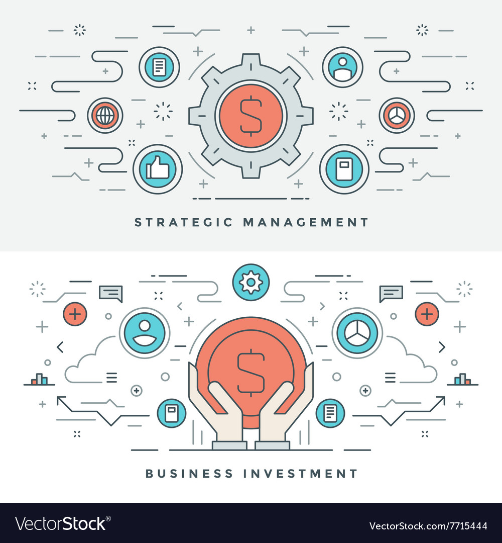 Flat line business investment and management vector