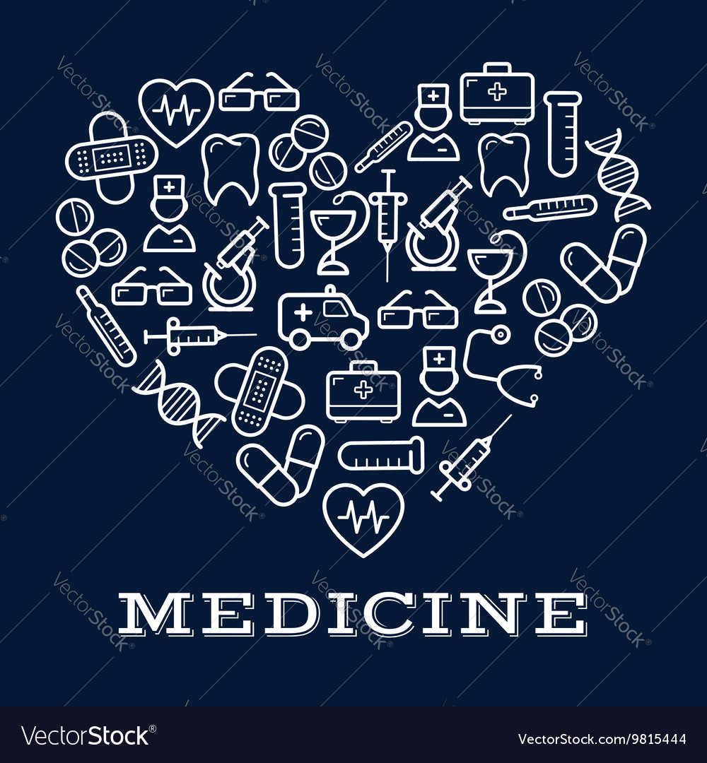 Icons of healthcare or medicine equipment as heart vector
