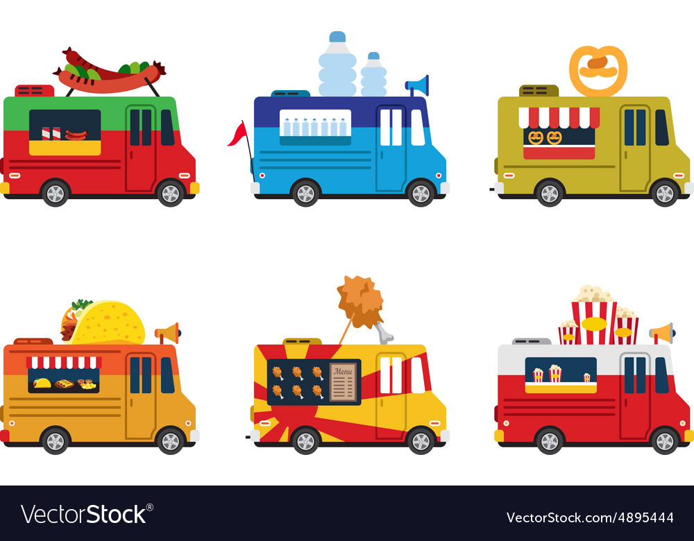 Van with food meals on wheels fast food flat vector