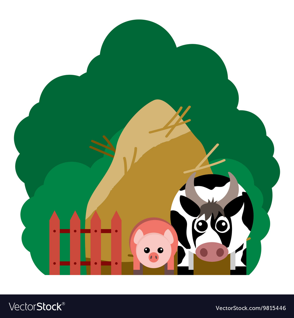 Farm animals and related items vector