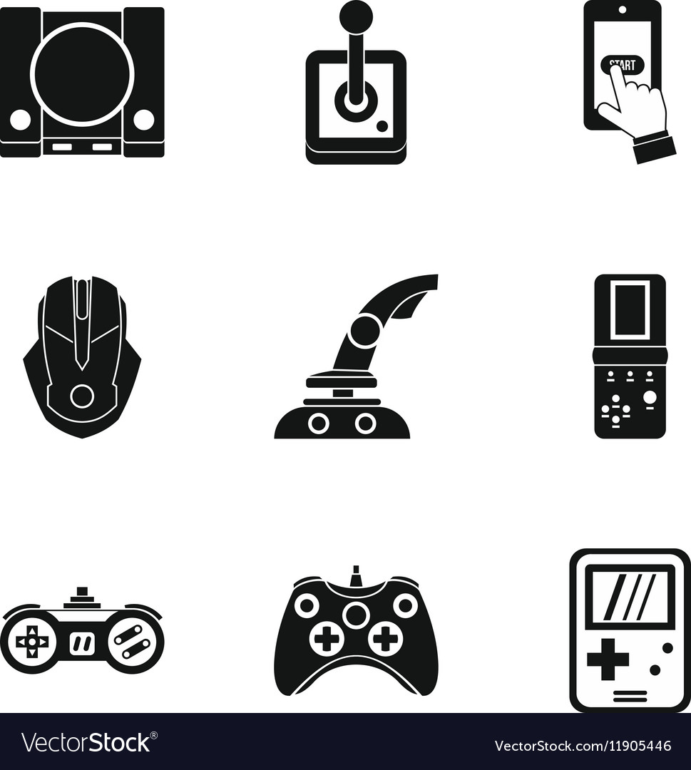 Game icons set simple style vector