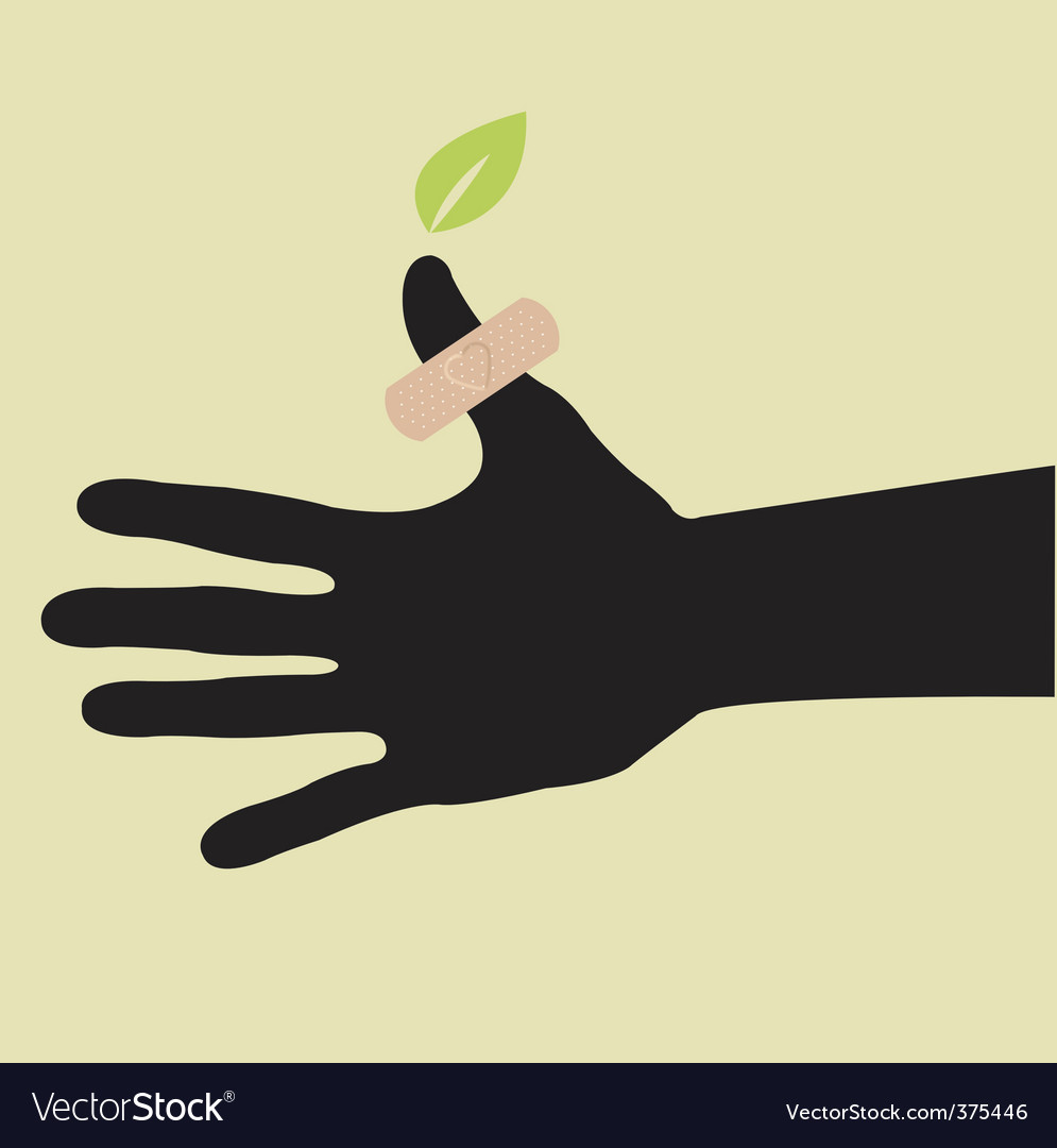 Hand with leaf and plants vector