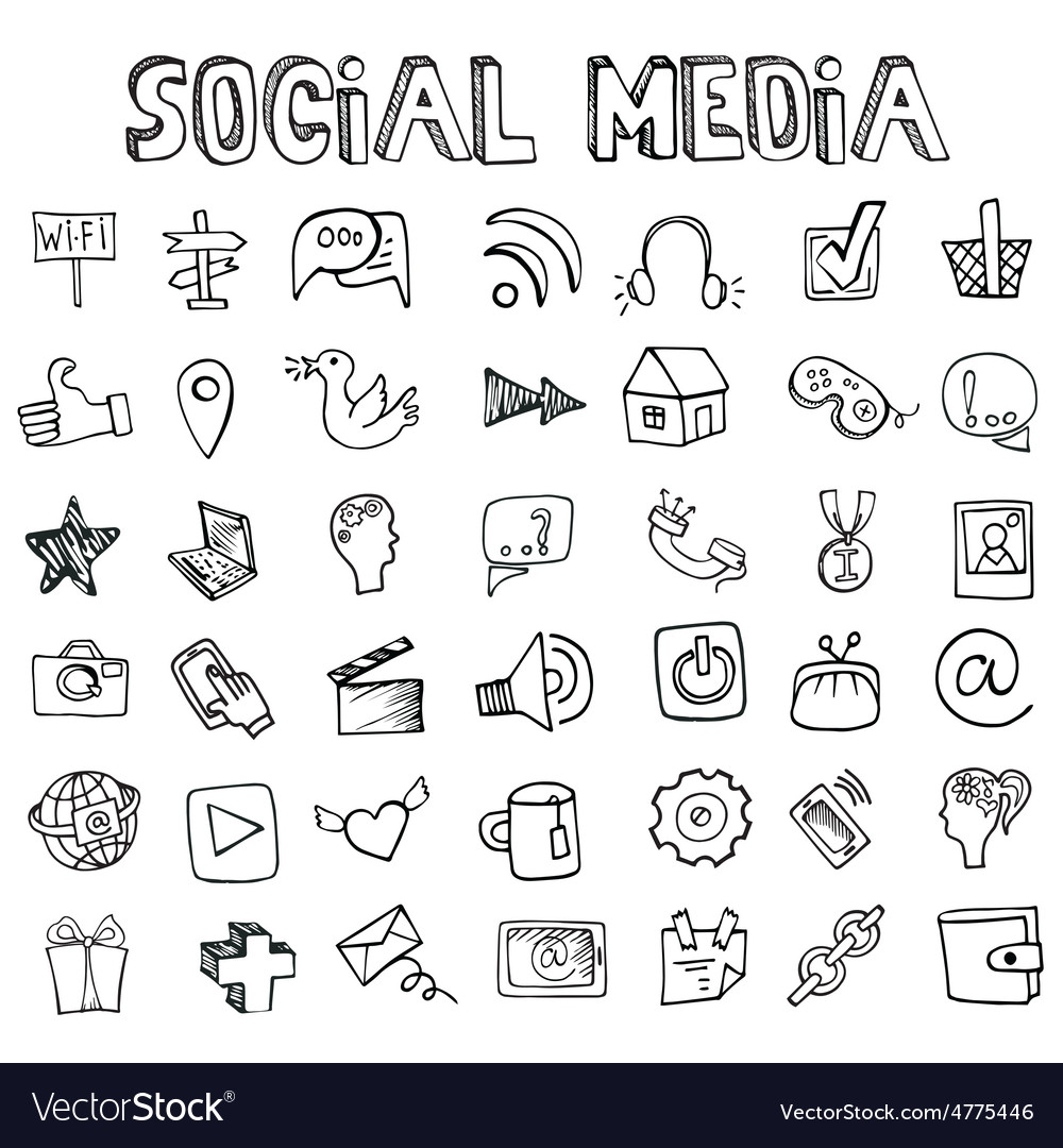Social media icons setdoodle sketchy elements vector