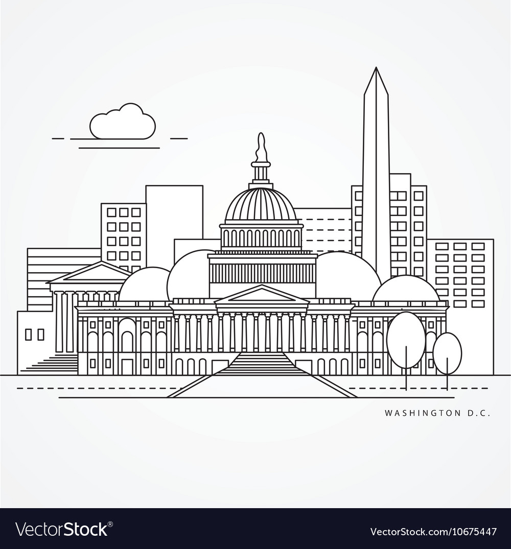 Linear of washinton dc us flat one vector