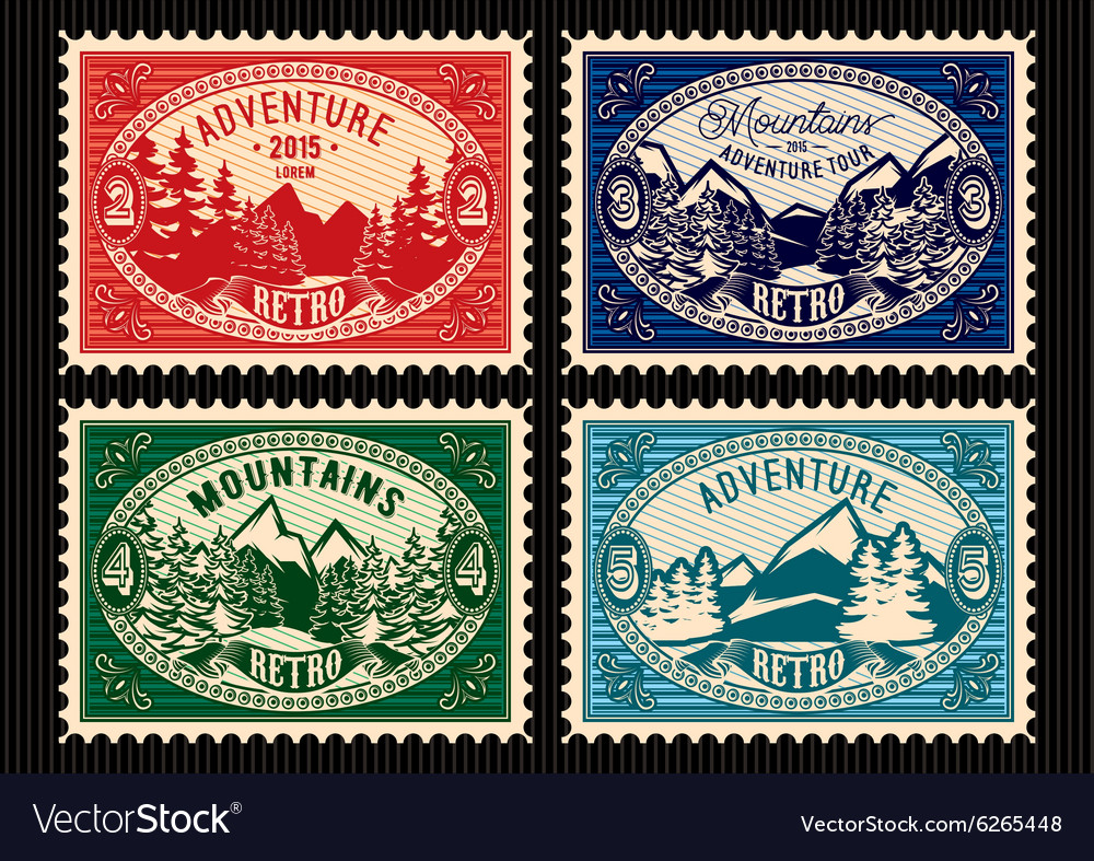 Stamps with fir forest and mountains vector