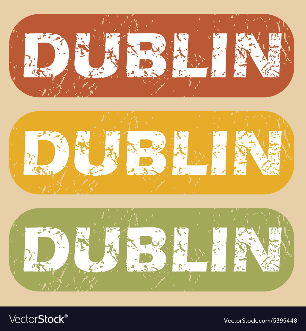 Vintage dublin stamp set vector