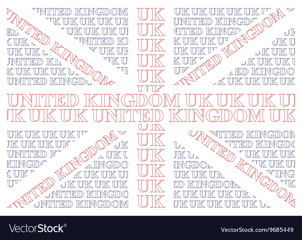 United kingdom text flag vector