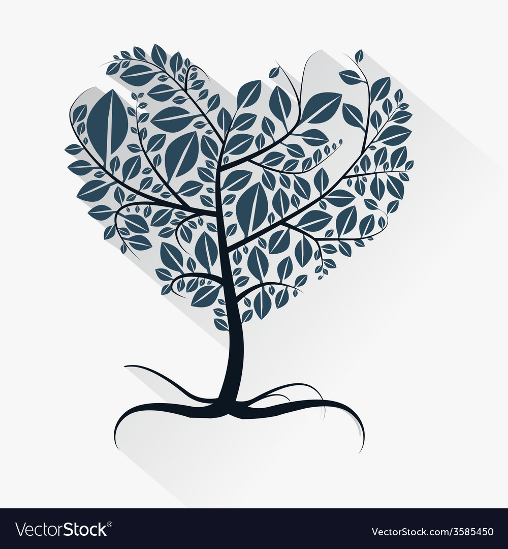 Abstract heart shaped tree with roots vector
