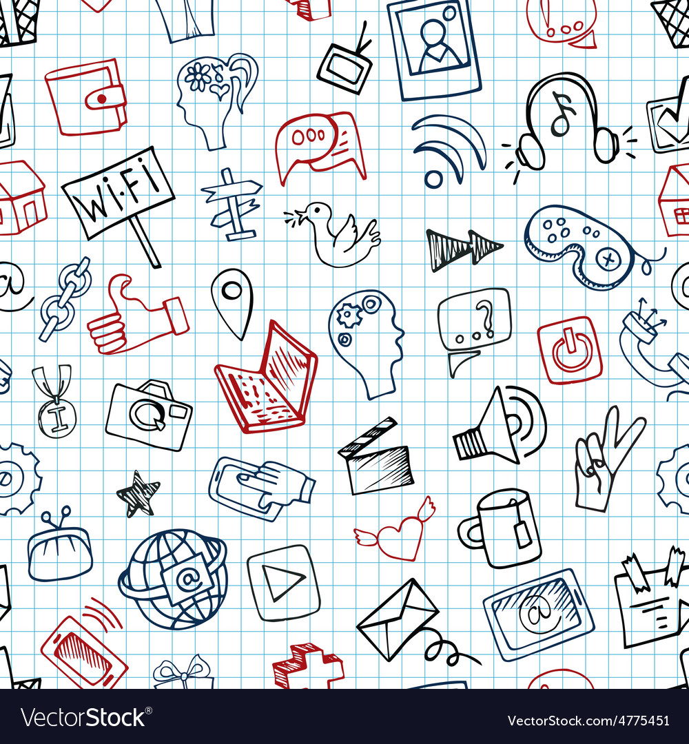 Social media icon seamless patterndoodle sketchy vector
