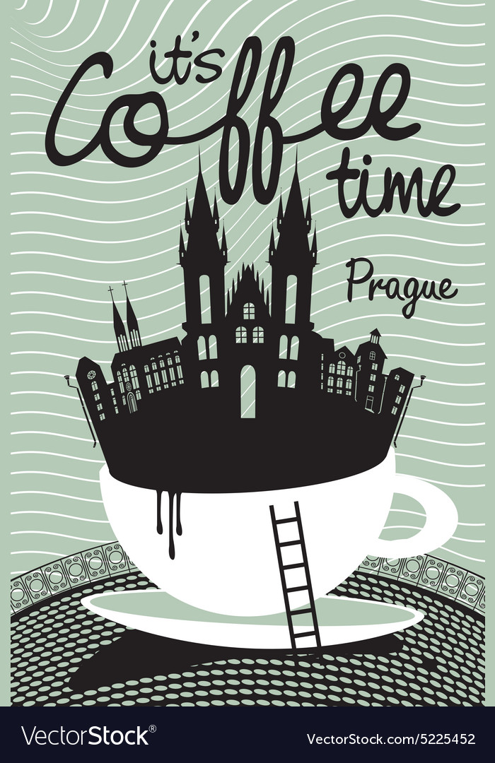 Coffee on prague vector