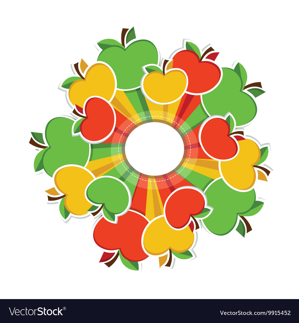 Colourful apples around circle with place for your vector