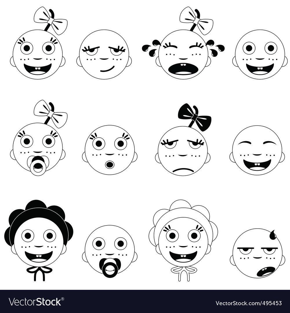 Baby face set vector