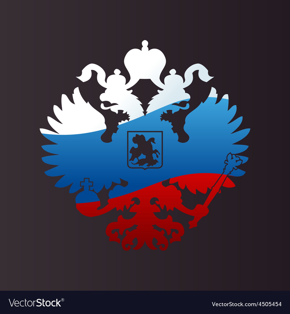 Russian coat of arms doubleheaded eagle emblem vector