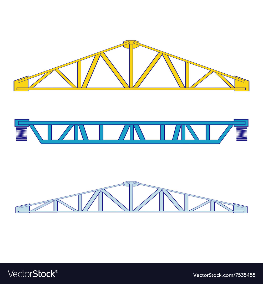 Color icon set with steel structures vector