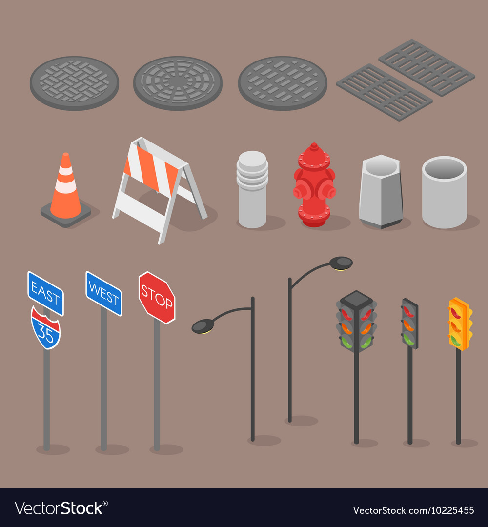 Isometric set icon of city objects vector