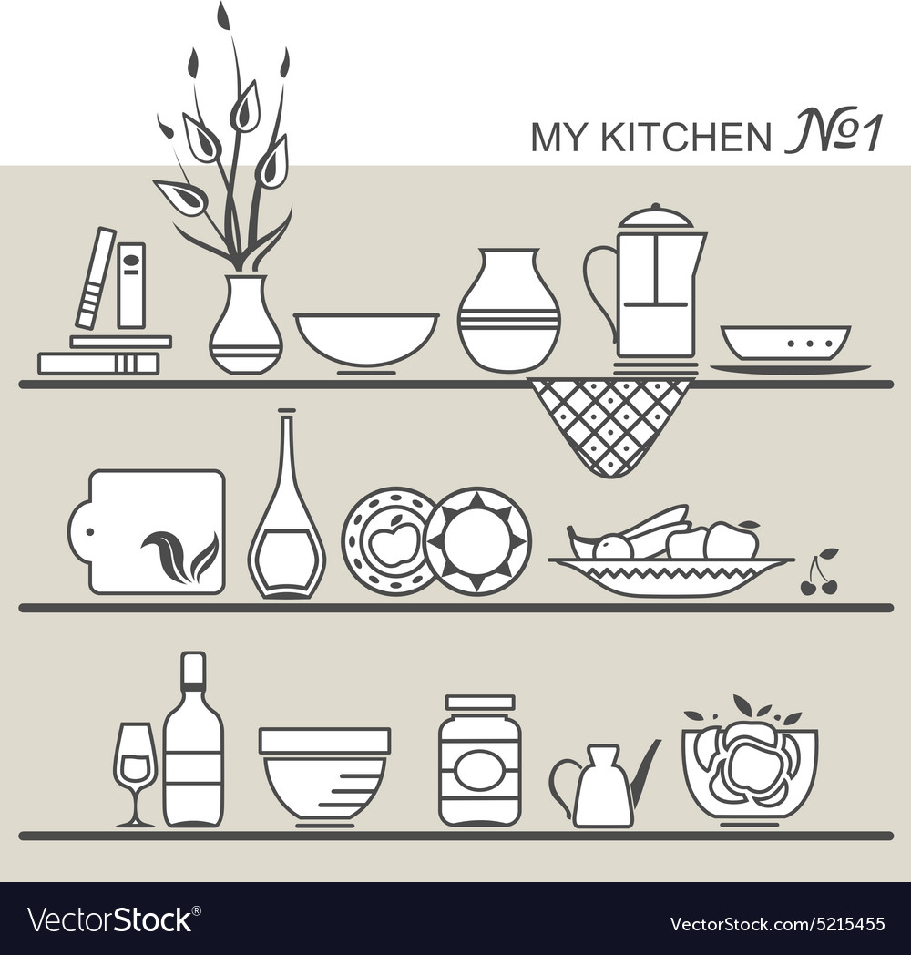 Kitchen utensils on shelves 1 vector