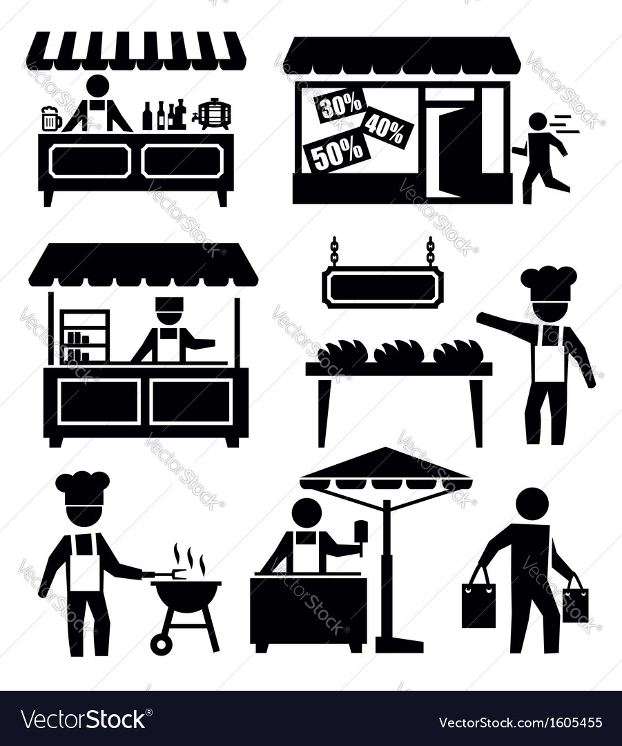 Market and shopping vector