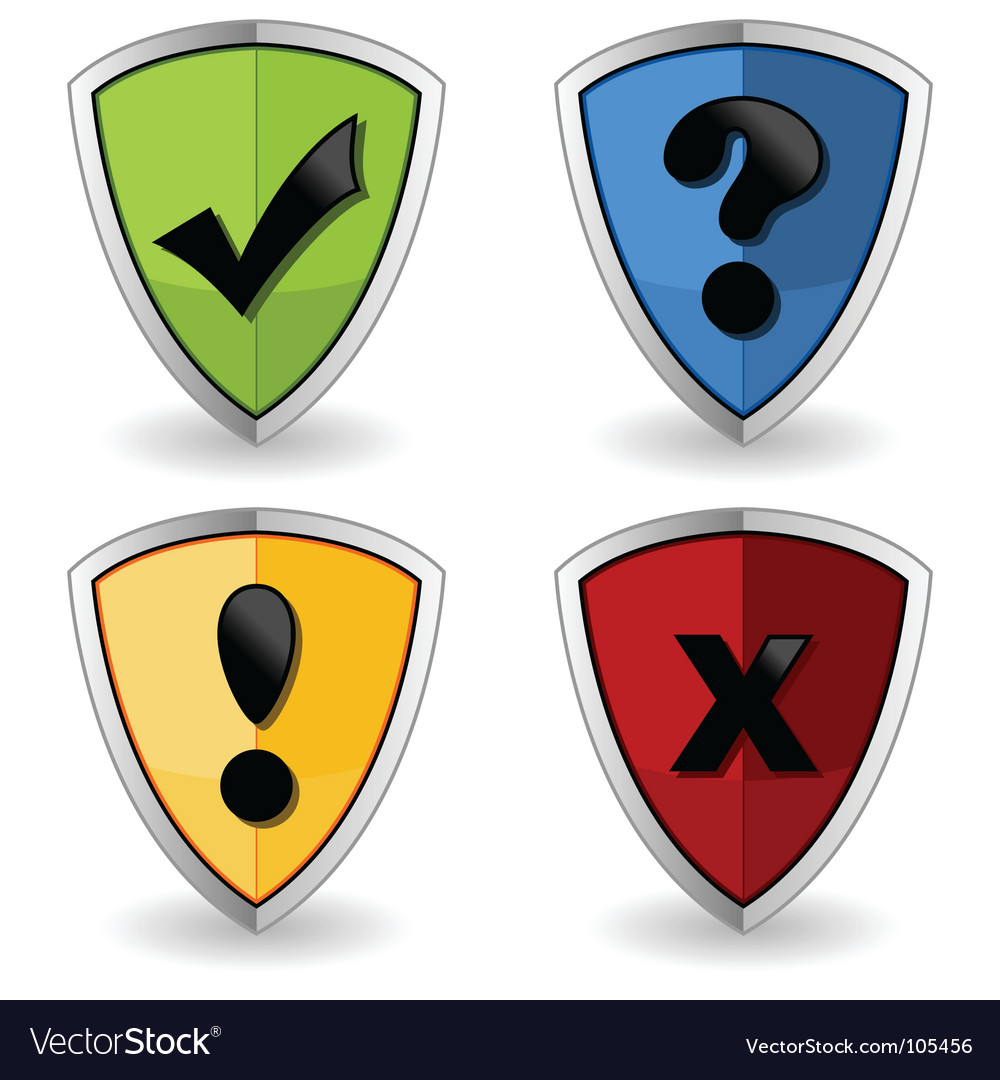 Shields with check marks vector