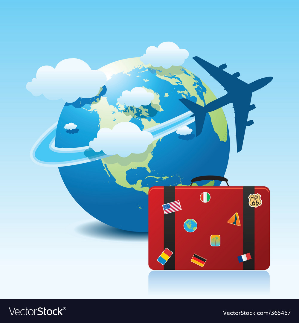 Airplane travel with suitcase vector