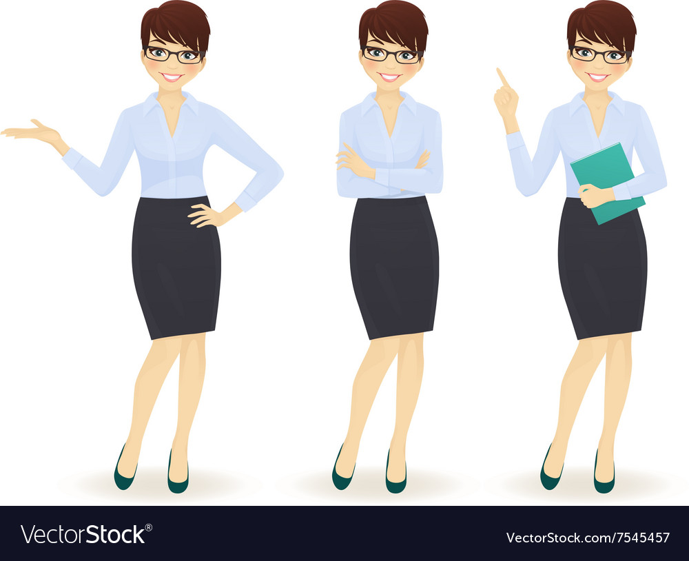 Elegant business woman in different poses vector