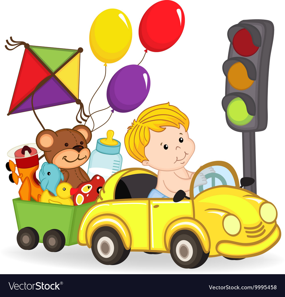 Baby boy by car with toys vector