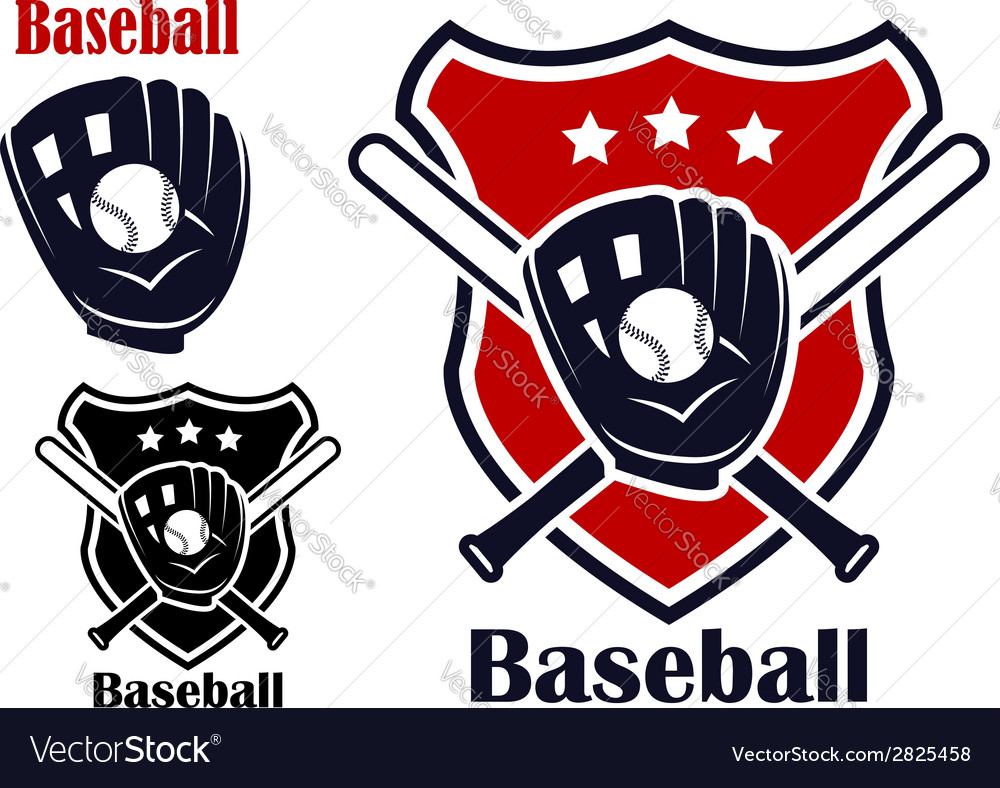 Baseball sport emblems vector