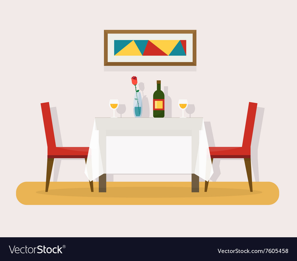 Dining table for date with glasses of wine vector