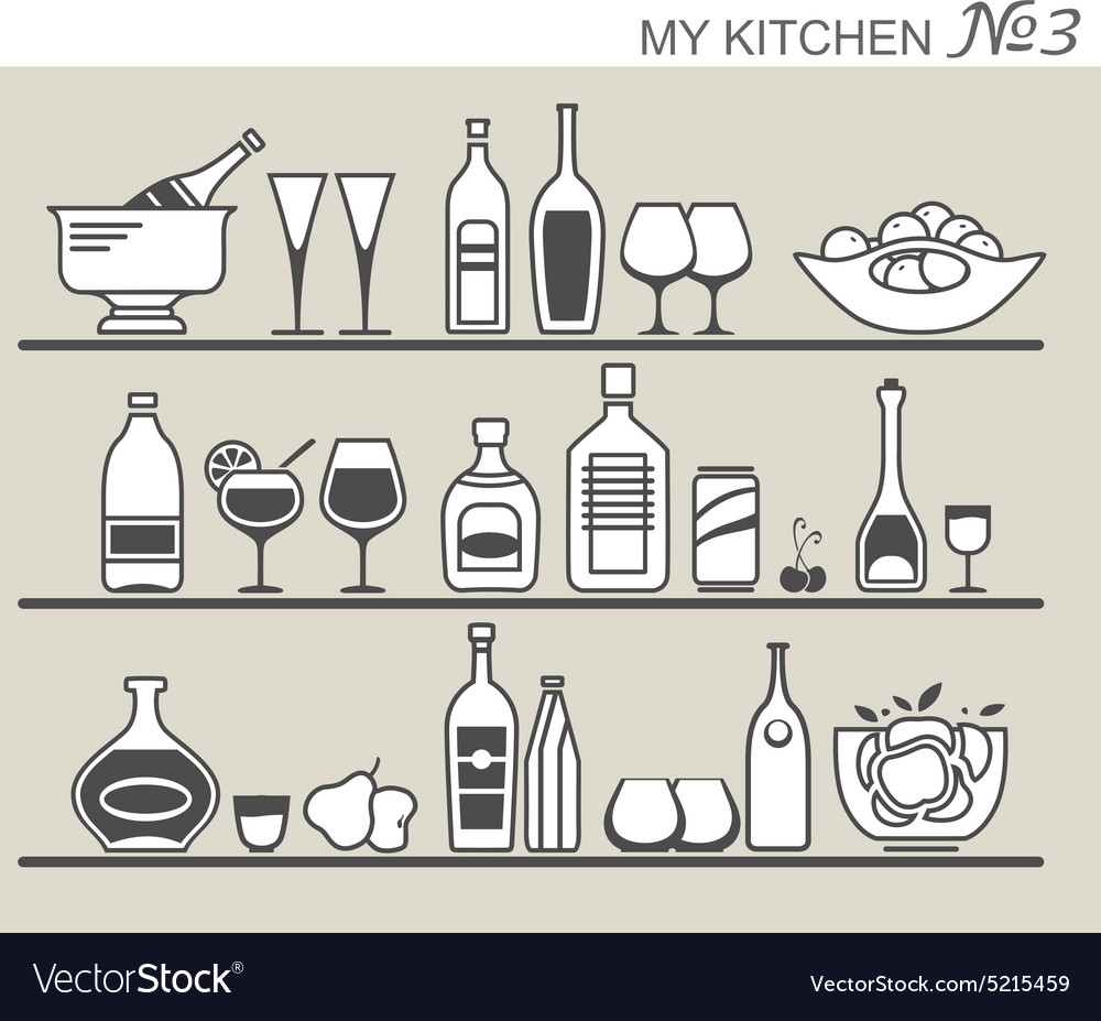 Kitchen utensils on shelves 3 vector