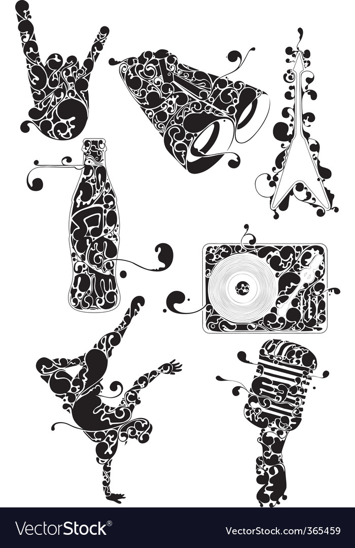 Urban music icons vector