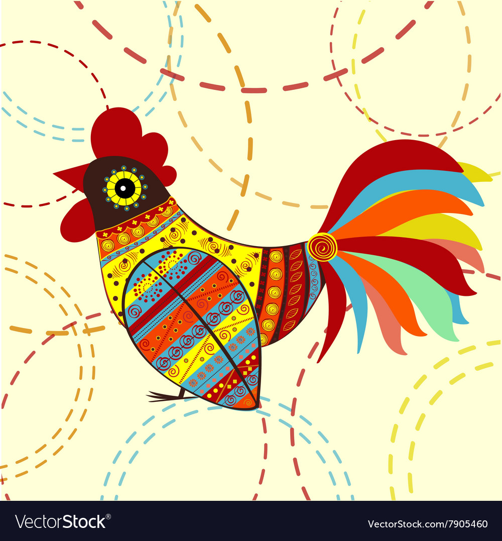 Cock bird ethnic pattern vector