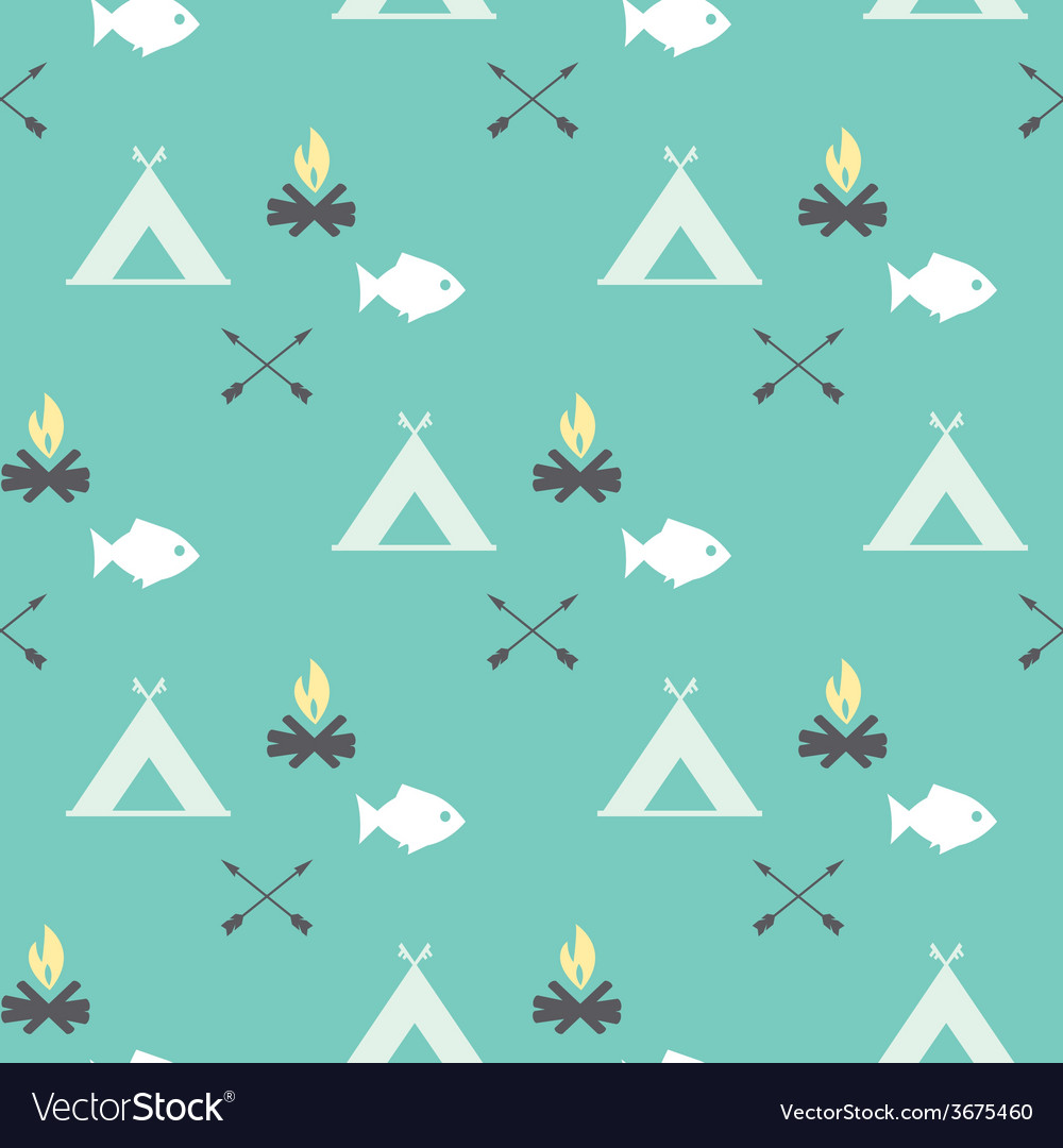 Cute seamless pattern camping vector