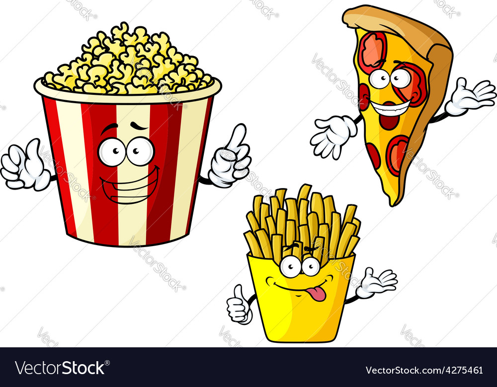 Pizza french fries popcorn cartoon characters vector