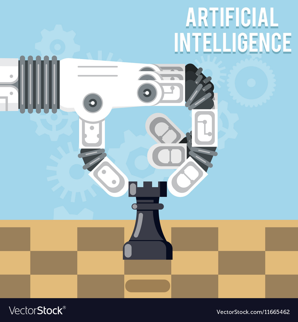 Artificial intelligence technology robot hand vector