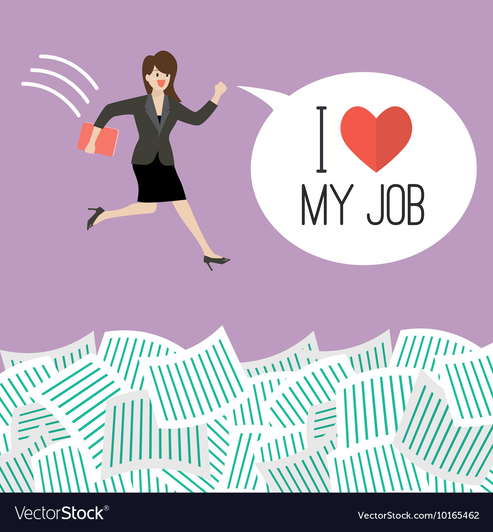 Business woman jump into a lot of documents with vector