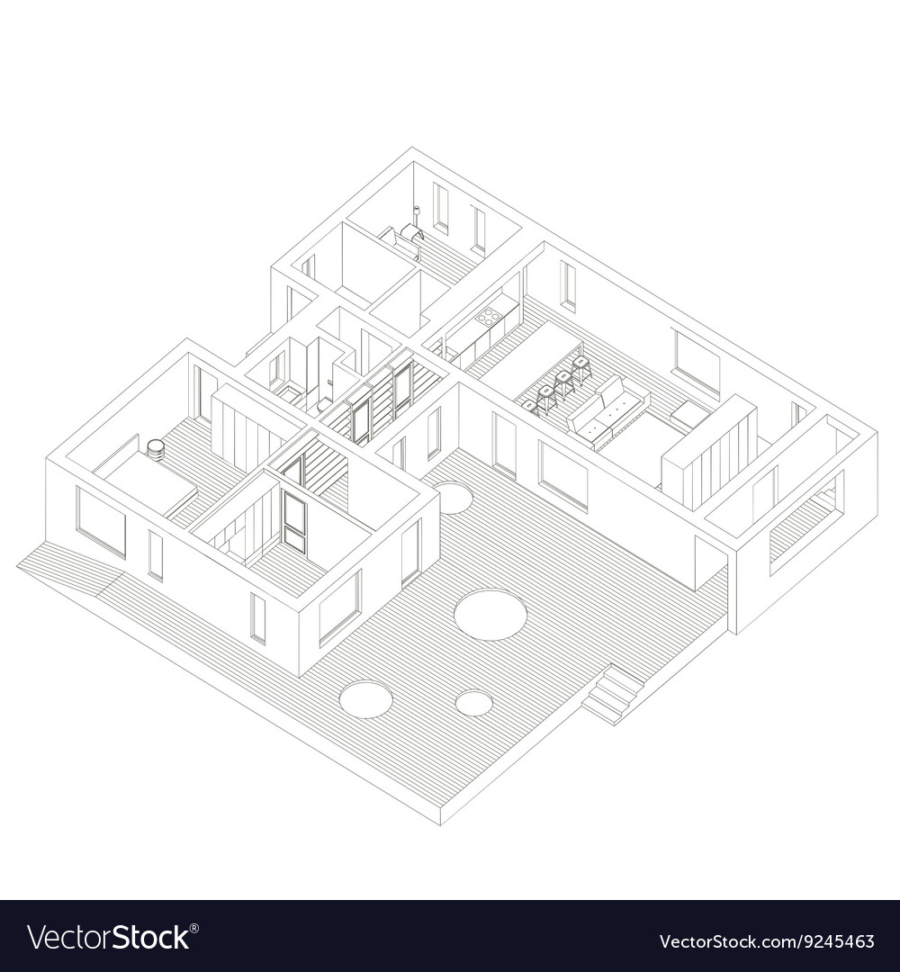 Isometric house inside vector