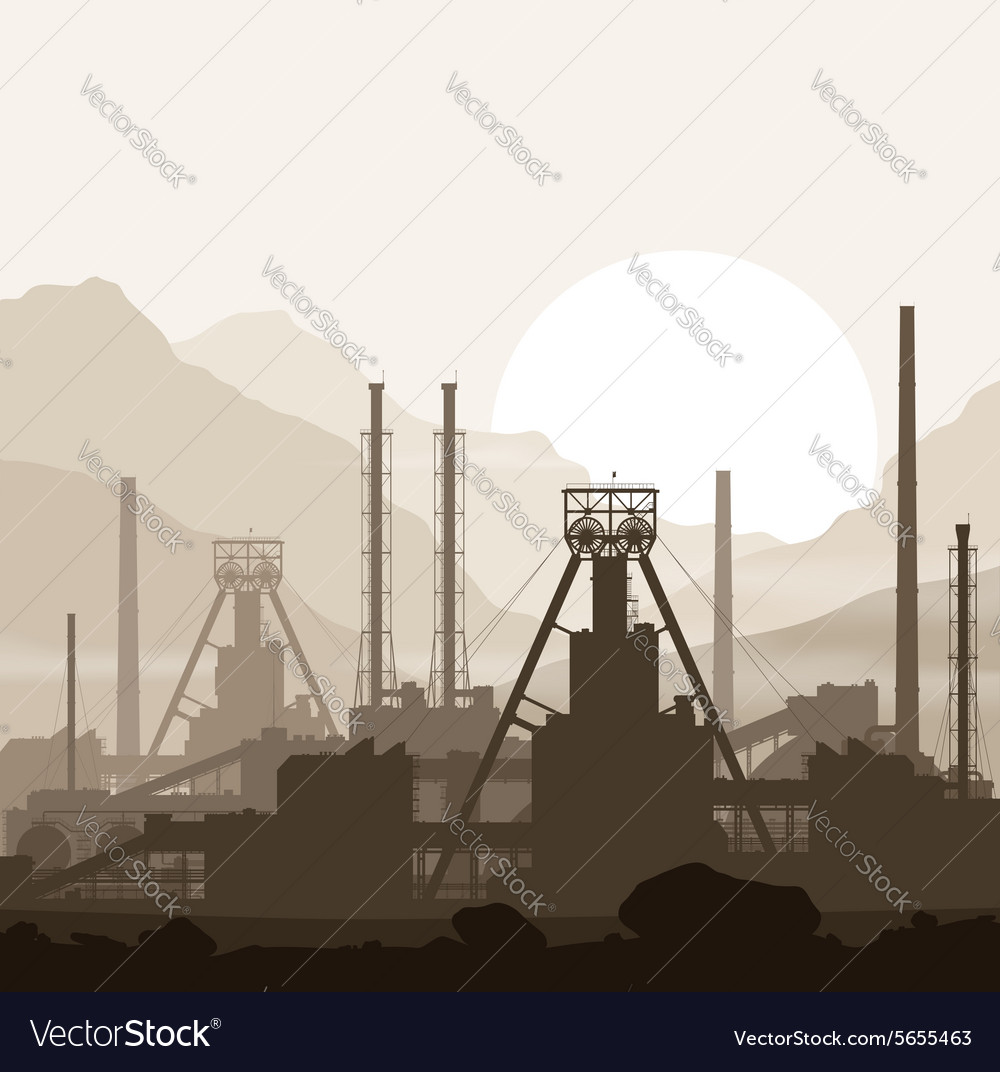 Mineral fertilizers plant over sunset in mountains vector