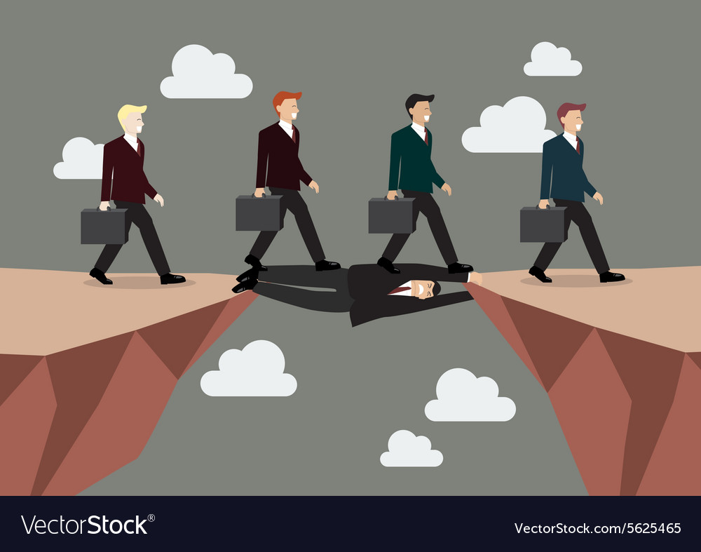 Businessman is laying down across the cliff vector