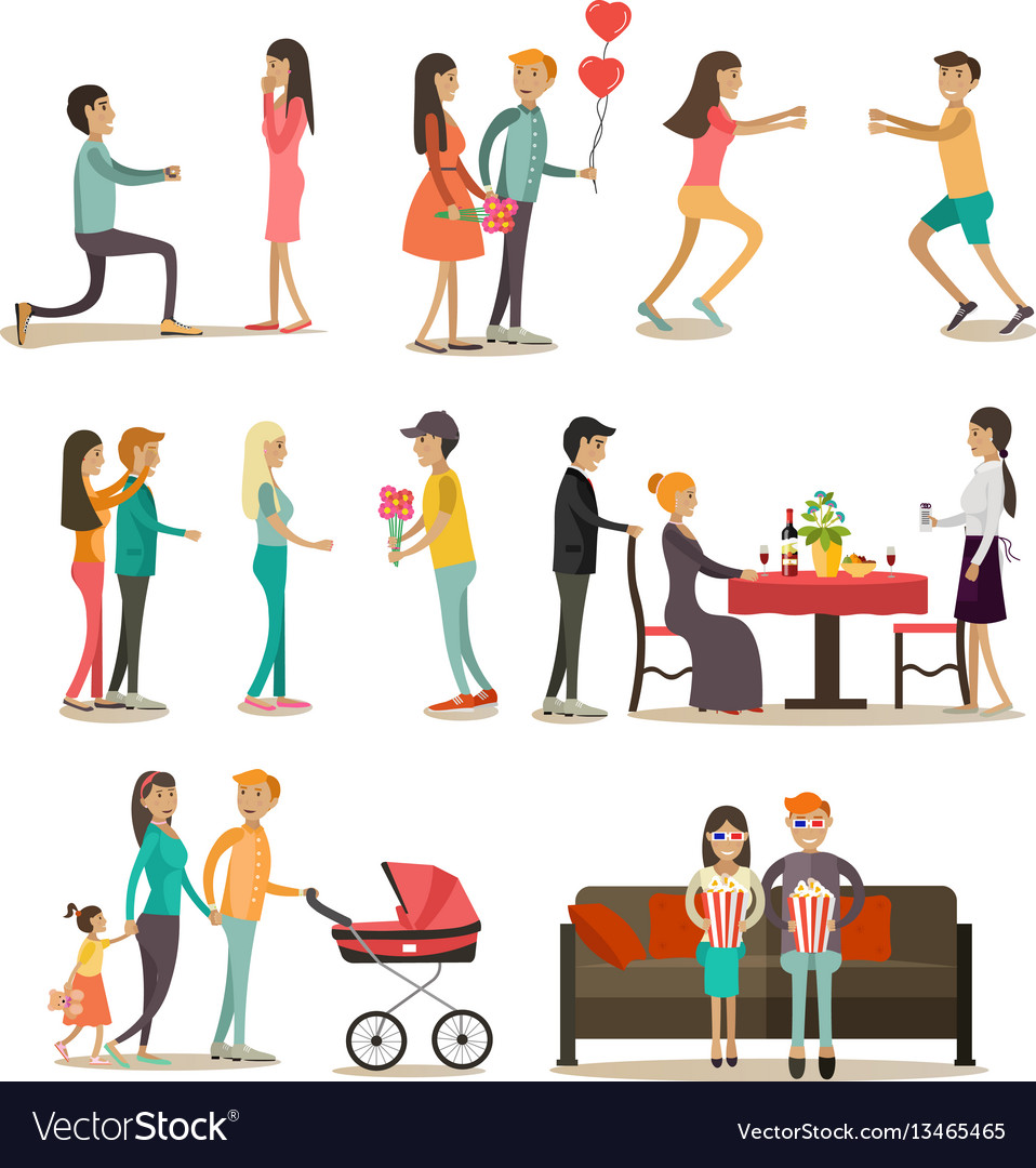 Flat icons set of people in love vector