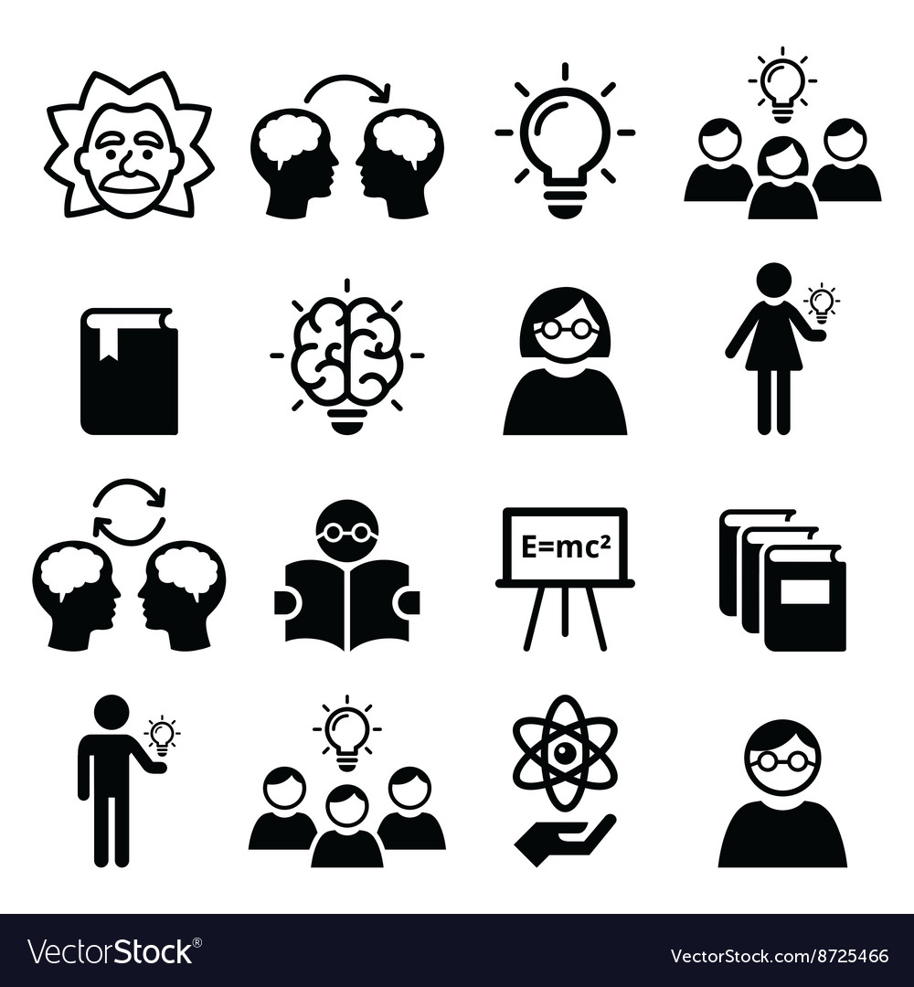 Knowledge creative thinking ideas icons vector